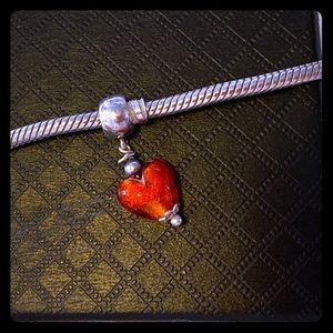 Pandora Bracelet Dangling Glass Heart
